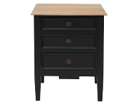 LivingStyles Belley Hand Crafted Mahogany Timber Bedside Table with Weathered Oak Top, Black