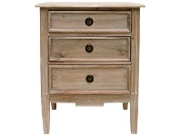 LivingStyles Belley Hand Crafted Mahogany Timber 3 Drawer Bedside Table, Weathered Oak