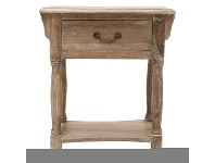 LivingStyles Souvigny Hand Crafted Mahogany Nightstand, Weathered Oak