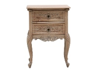 Challuy Hand Crafted Mahogany Bedside Table, Weathered Oak