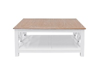 LivingStyles Belley Hand Crafted Mindi Wood Coffee Table with Shelf, 110cm, White / Weathered Oak