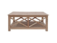 LivingStyles Belley Hand Crafted Mindi Wood Coffee Table with Shelf, 110cm, Weathered Oak