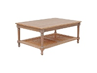 LivingStyles Lapalisse Handcrafted Mindi Wood Coffee Table, 110cm, Weathered Oak