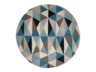 LivingStyles Matrix Crystal Hand Tufted Wool Round Rug, 150cm
