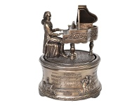 LivingStyles Veronese Cold Cast Bronze Coated Figurine Music Box, Mozart