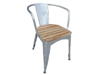 LivingStyles Lerryn Metal Dining Chair with Teak Timber Seat