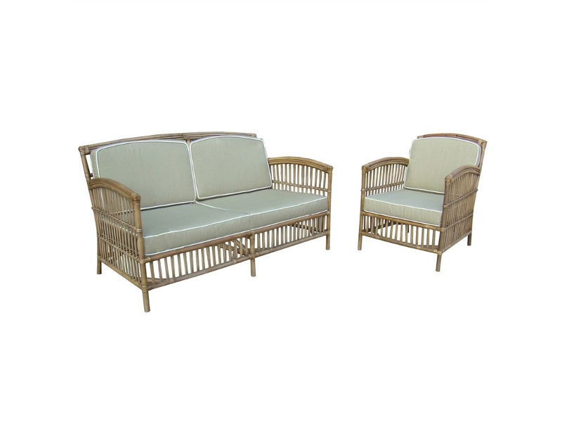 Royston Rattan Armchair with Cushion, Tobacco / Taupe