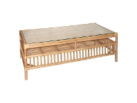 LivingStyles Royston Glass Top Rattan Coffee Table, Tabacco