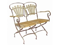 LivingStyles Compton 2 Seater Timber Slatted Metal Garden Folding Bench