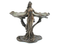 LivingStyles Veronese Cold Cast Bronze Coated Lady with Lotus Leaf Jewellery Tray