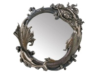 LivingStyles Veronese Cold Cast Bronze Coated Mermaid Round Wall Mirror, 68cm