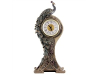 LivingStyles Veronese Cold Cast Bronze Coated Peacock Table Clock