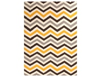 LivingStyles Nomad Chevron Flat Woven Wool Rug, 225x155cm, Yellow / Brown