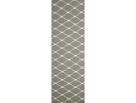 Nomad Hand Knotted Weave Stitch Design Woolen Rug Runner in Grey - 400x80cm