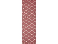 LivingStyles Nomad Hand Knotted Weave Stitch Design Woolen Rug Runner in Pink - 400x80cm