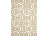 LivingStyles Nomad Hand Knotted Weave Oval Print Woolen Rug in Beige - 280x190cm