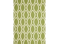 LivingStyles Nomad Hand Knotted Weave Oval Print Woolen Rug in Green - 225x155cm