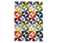 LivingStyles Nomad Hand Knotted Weave Multi-colour Pinwheel Woolen Rug - 225x155cm
