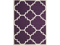 LivingStyles Nomad Hand Knotted Weave Moroccan Design Woolen Rug in Aubergine - 225x155cm