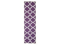LivingStyles Nomad Hand Knotted Weave Moroccan Design Woolen Rug Runner in Aubergine - 400x80cm
