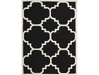 LivingStyles Nomad Hand Knotted Weave Moroccan Design Woolen Rug in Black - 225x155cm