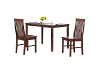 LivingStyles Norma 3 Piece Solid Oak Timber Dining Set