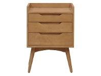 LivingStyles Molton Hand Crafted Mango Wood 3 Drawer Bedside Table