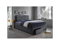 LivingStyles Logan Fabric Upholstered Queen Bed with End Drawers