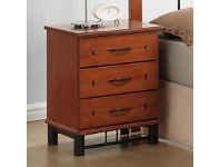 LivingStyles Theron Rubberwood Timber and Metal Bedside Table