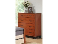 LivingStyles Theron Rubberwood Timber and Metal 5 Drawer Tallboy