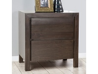 LivingStyles Trend New Zealand Pine 2 Drawer Bed Side Table in Charcoal
