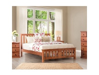 LivingStyles Carrington New Zealand Pine Double Bed in Golden Oak