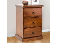 LivingStyles Standard New Zealand Pine 3 Drawer Bedside Table in Chocolate