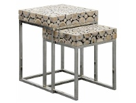 LivingStyles Iberia 2 Piece Driftwood and Stainless Steel Nested Table Set