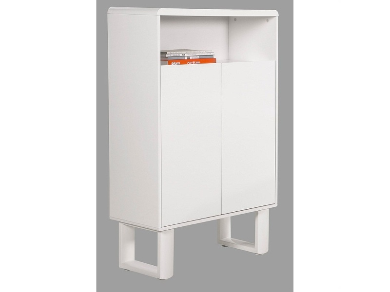 Neve 2 Door Tall Cabinet, Matt White