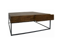 LivingStyles Shotton Solid Timber & Metal Coffee Table