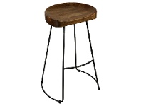 LivingStyles Greendale Metal Frame Counter Stool with Timber Seat, Charcoal