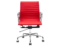 LivingStyles Replica Eames Aluminium Group Management Chair, Premium Leather, Red
