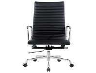 Executive Eames Replica Leather Office Chair - Black Premium