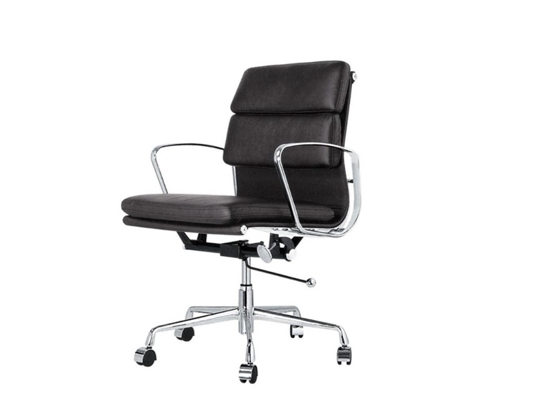 Replica Eames Italian Leather Soft Pad Office Chair, Mid Back, Black / Silver