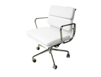 LivingStyles Replica Eames Italian Leather Soft Pad Office Chair, Mid Back, White / Silver
