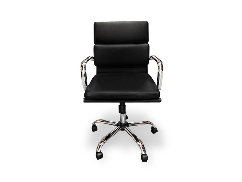 Replica Eames Italian Leather Soft Pad Boardroom Chair, Mid Back, Black / Silver