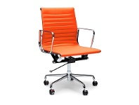 LivingStyles Replica Eames PU Leather Management Chair, Mid Back, Orange