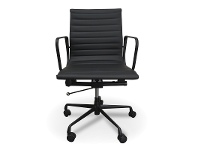 LivingStyles Replica Eames PU Leather Management Chair, Mid Back, Black