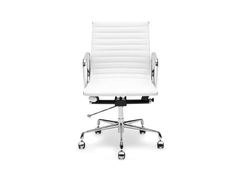 Replica Eames PU Leather Management Chair, Mid Back, White