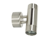LivingStyles Comma IP44 Exterior Up / Down Wall Light, Brushed Chrome