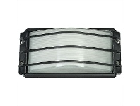 Deck IP54 Exterior Bunker Light, Guarded, Black