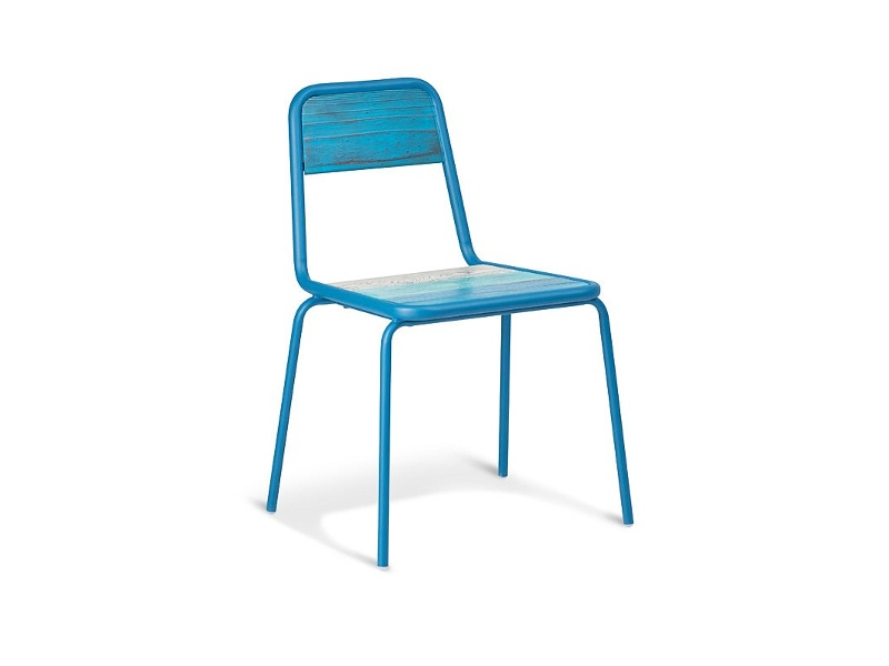 Aurora Commercial Grade Stackable Metal Dining Chair with Timber Seat - Blue