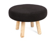 LivingStyles Oslo Knitted Seat Ottoman - Black