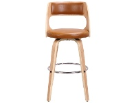 LivingStyles Oslo Commercial Grade Swivel Bar Stool, Tan / Oak with Silver Footrest